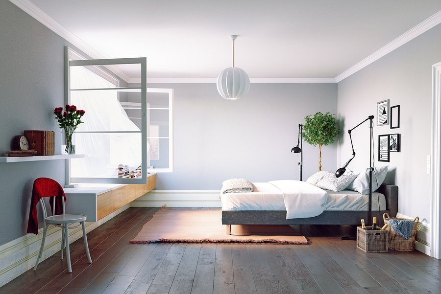 Modern bedroom interior. Beautiful window view zone.