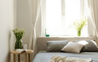 Sunny Morning In A Natural Style Bedroom Interior With A Bed, A