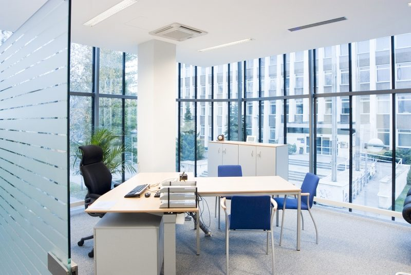 Interior of an office with modern furniture