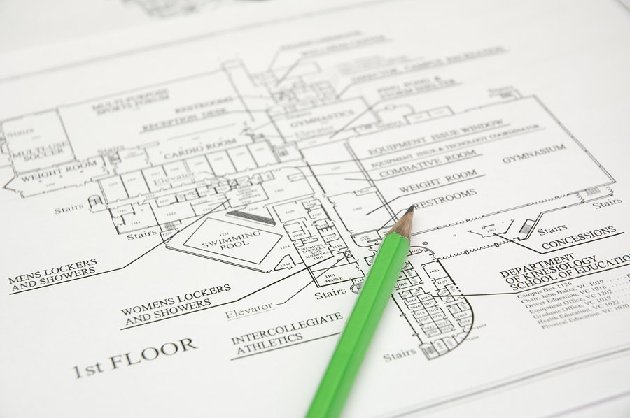 Architectural plan and green pencil